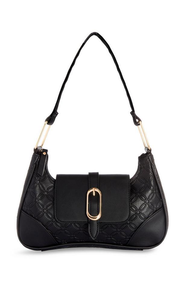 Zwarte schoudertas met monogram