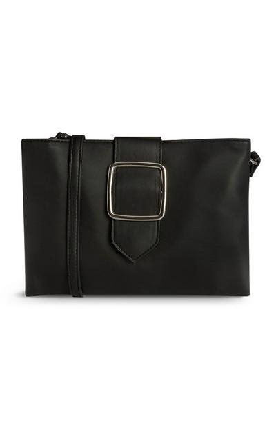 Black Vegan Faux Leather Crossbody Buckle Bag