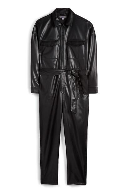 Schwarzer Utility-Jumpsuit aus veganem Kunstleder