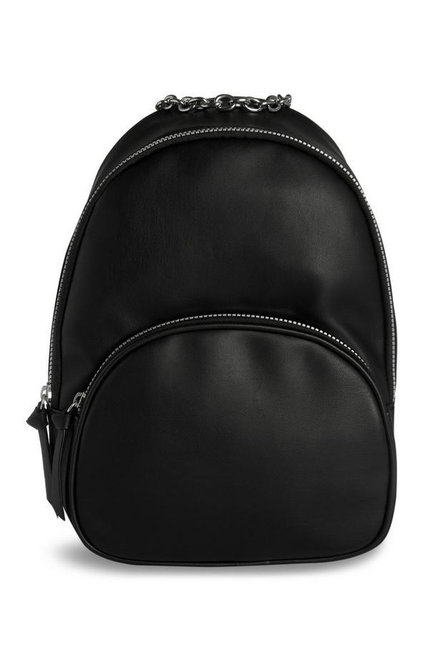 Black Vegan Faux Leather Backpack