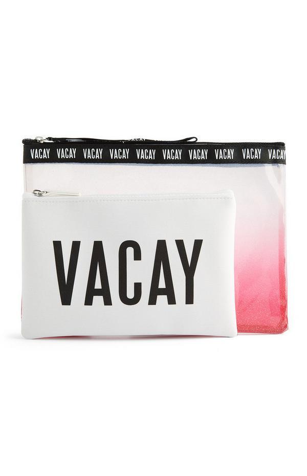 Pack de 2 bolsas de viaje rosas y blancas con efecto degradado