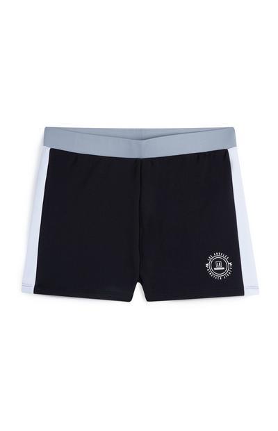 Older Boy Black Cut And Sew Swim Shorts
