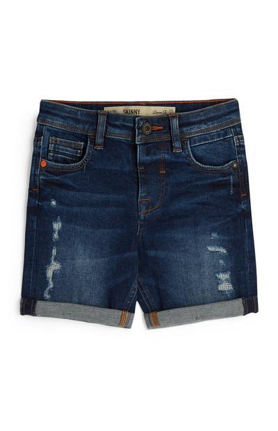 Older Boy Indigo Ripped Shorts