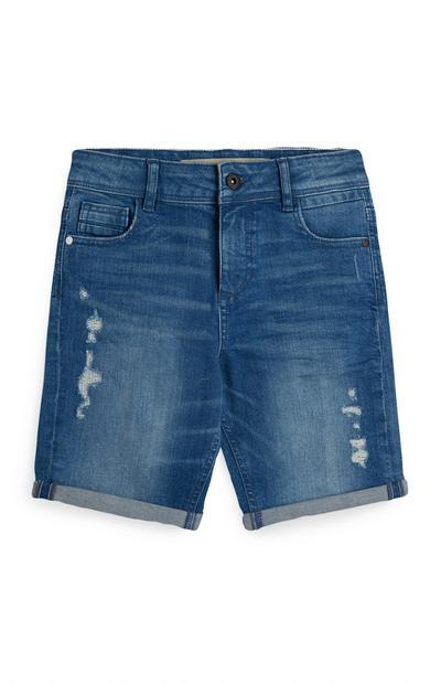 Older Boy Blue Ripped Shorts