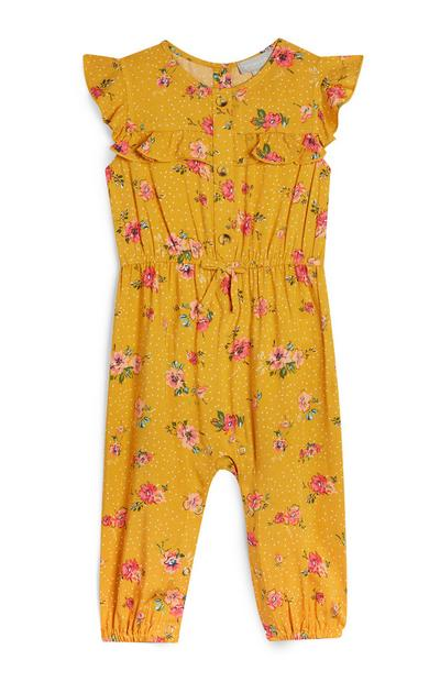 Baby Girl Mustard Floral Print Jumpsuit