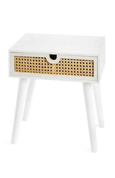 White Bedside Tablet With Woven Drawer