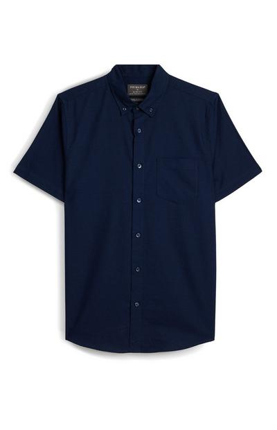 Navy Slim Fit Short Sleeve Shirt