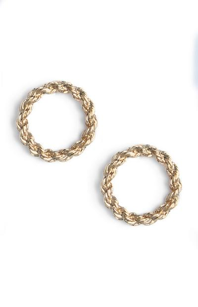Gold Rope Circular Stud Earrings
