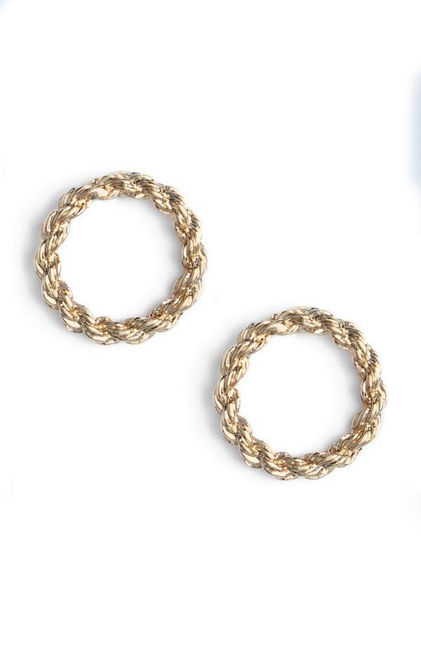 Gold Rope Circular Stud Earrings