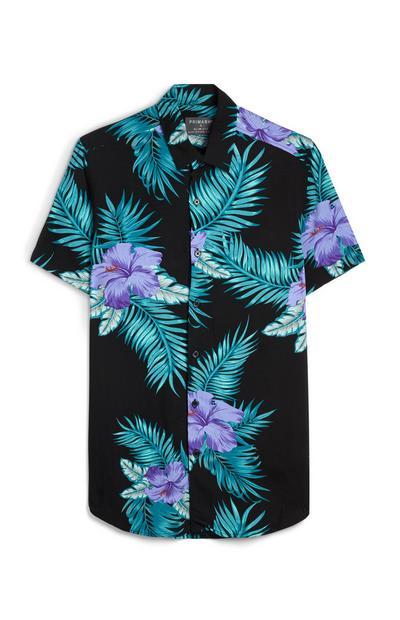 Schwarzes Hemd mit tropischem Muster