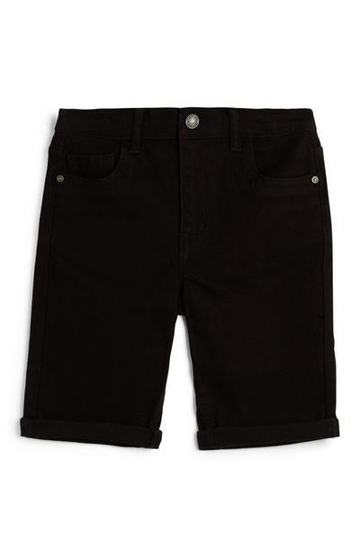 Older Boy Black Skinny Twill Shorts