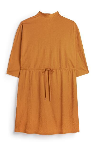 Orange Drawstring Jersey Tunic Dress