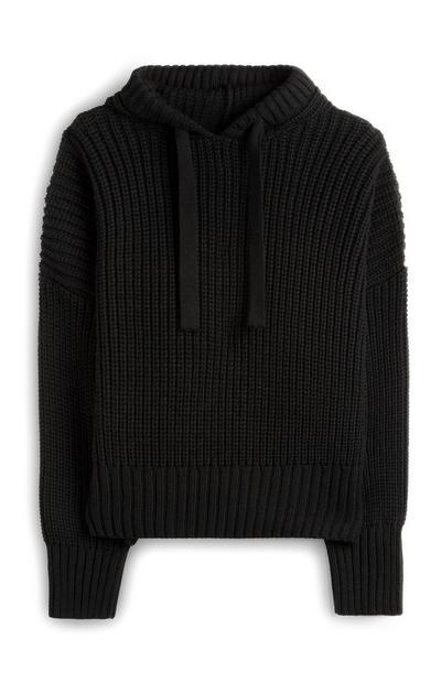 Camisola capuz canelada preto