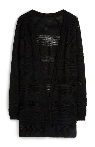 Schwarzer, grobmaschiger Cardigan aus recyceltem Polyester