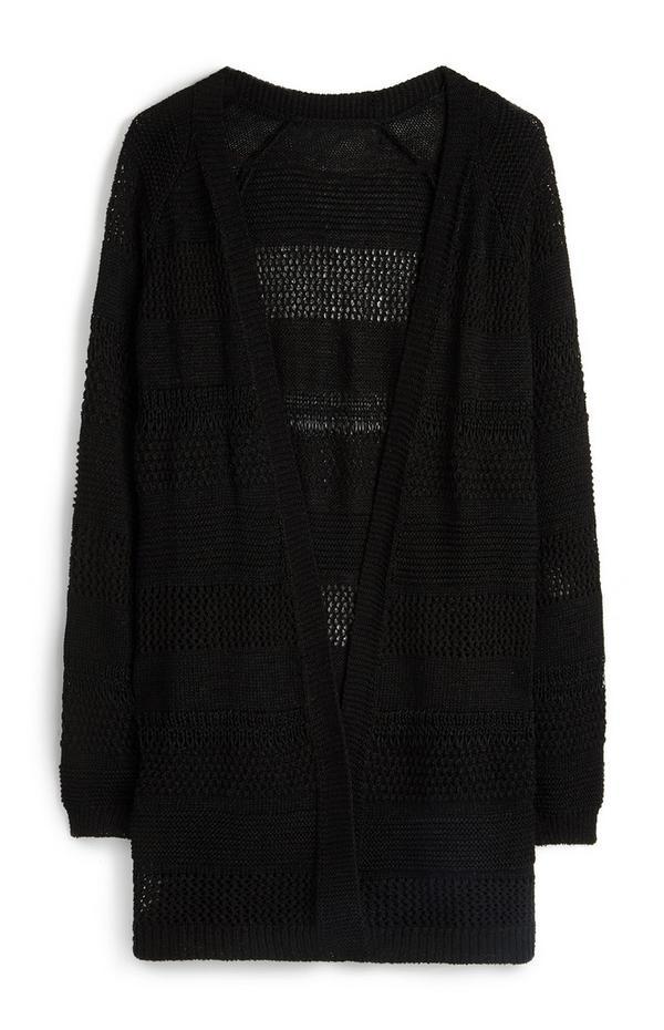 Cardigan noir en polyester recyclé à maille ajourée