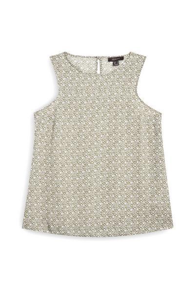 Hellgrüne, ärmellose Bluse mit Muster