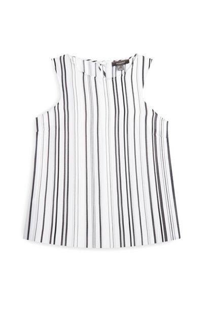 White Striped Sleeveless Blouse