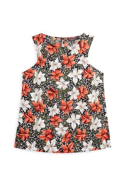 Ärmellose Bluse mit buntem Blumenmuster