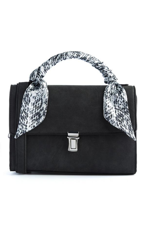 Black Suede Scarf Cross Body Bag