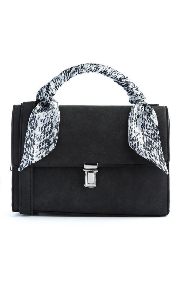 Sac bandoulière en daim noir avec détail foulard