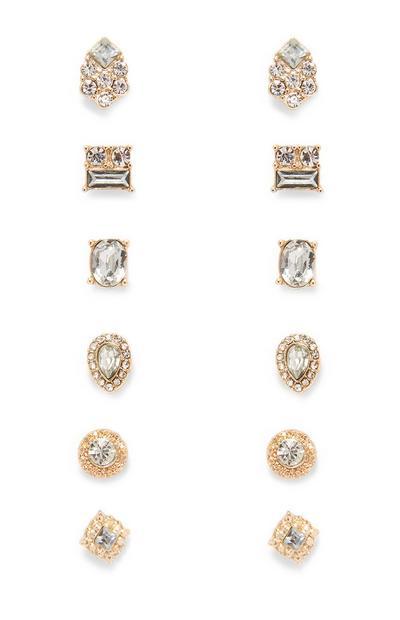 6-Pack Rhinestone Stud Earrings