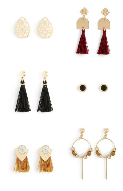 Tassel Drop And Stud Earrings 6Pk