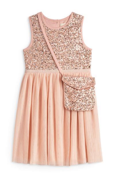 Vestido e mala lantejoulas menina rosa-pálido