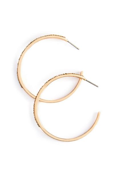 Yellow Diamante Hoop Earrings