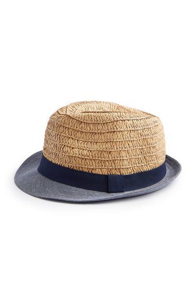 Baby Boy Sand Straw Trilby Hat