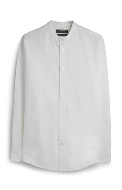 Weißes Oxford-Hemd mit Grandad-Kragen