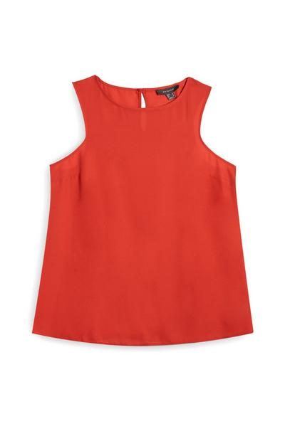 Ärmellose Bluse in Rot