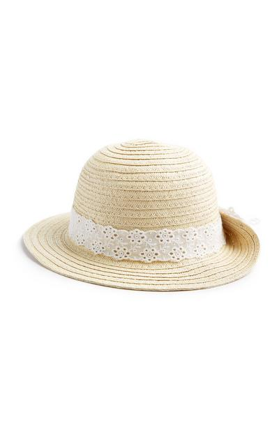 Baby Girl Natural Straw Bonnet