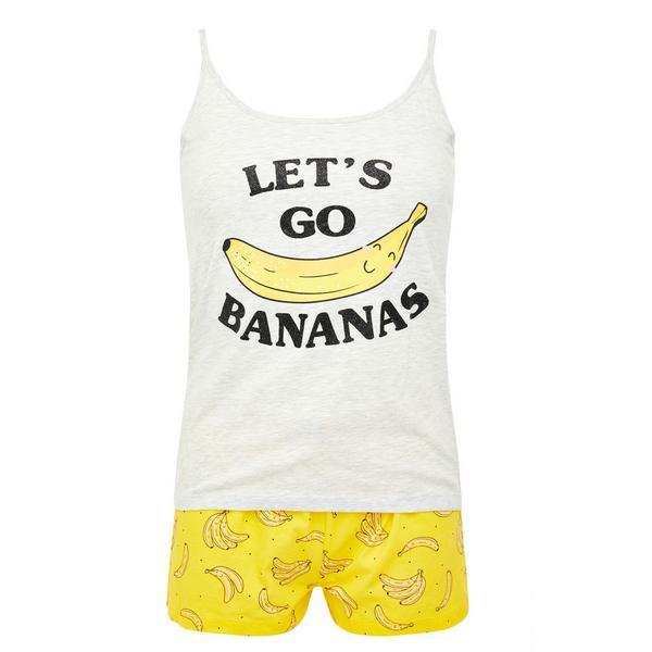 Gelbes, kurzes Pyjamaset