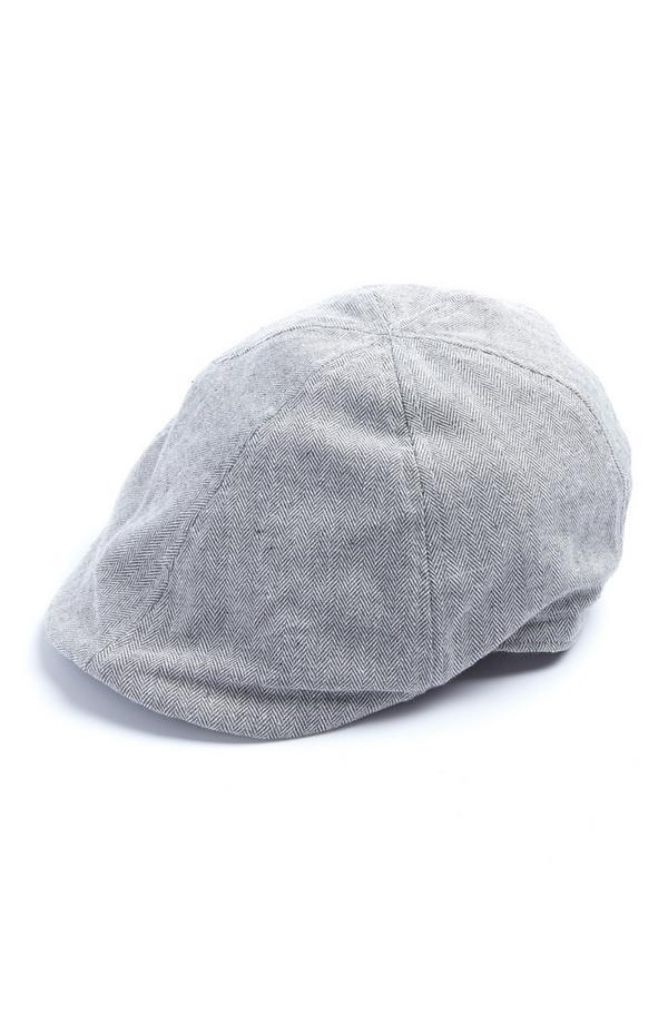 Grey Herringbone Pattern Flat Cap