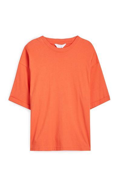 T-shirt squadrata arancione in cotone