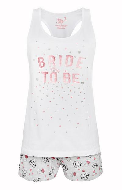 White Bride To Be Pyjama Vest And Shorts