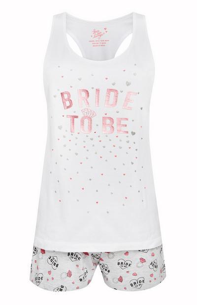 White Bride To Be Pajama Shirt And Shorts