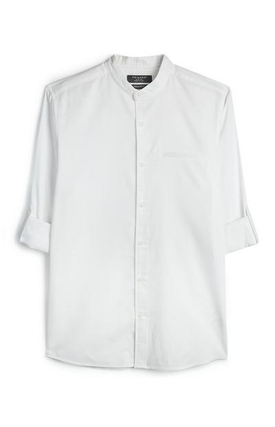Wit kraagloos overhemd met textuur en korte mouwen