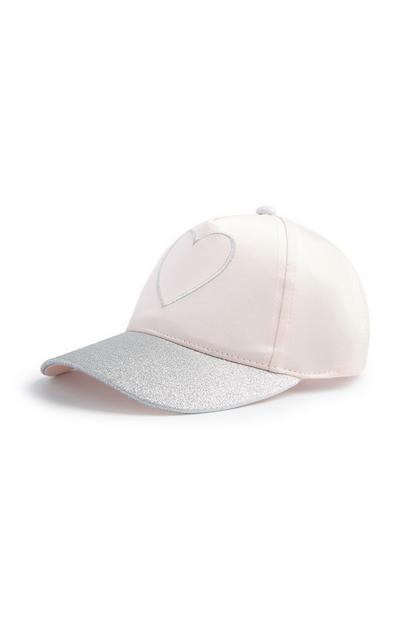 Younger Girl Blush And Silver Glitter Heart Cap