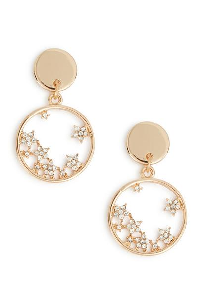 Diamante Star Circle Drop Earrings