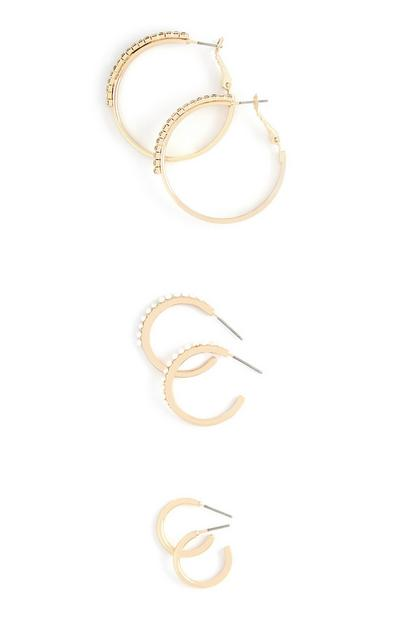 3-Pack Gold Mixed Size Hoop Earrings