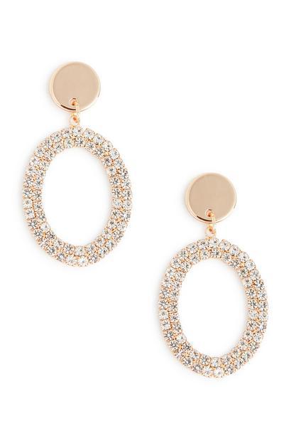 Ovalni viseči uhani z diamantki