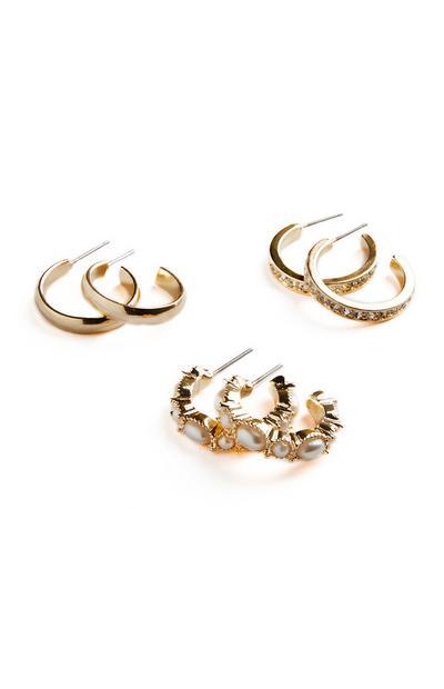 3 paia di orecchini a cerchio midi color oro giallo con strass