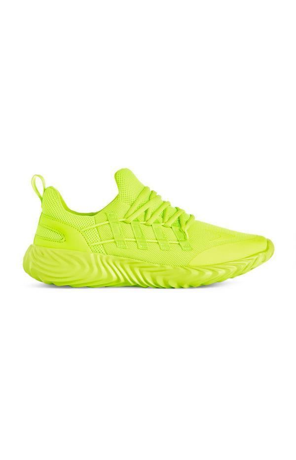 Neongelbe Sneaker in Strick-Optik