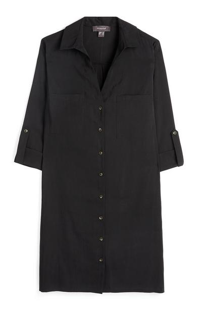 Black Rever Collar Shirt Dress