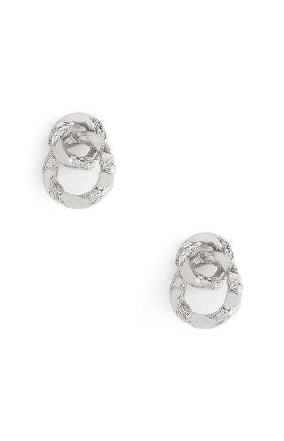 Orecchini bianchi a bottone circolari con spirale