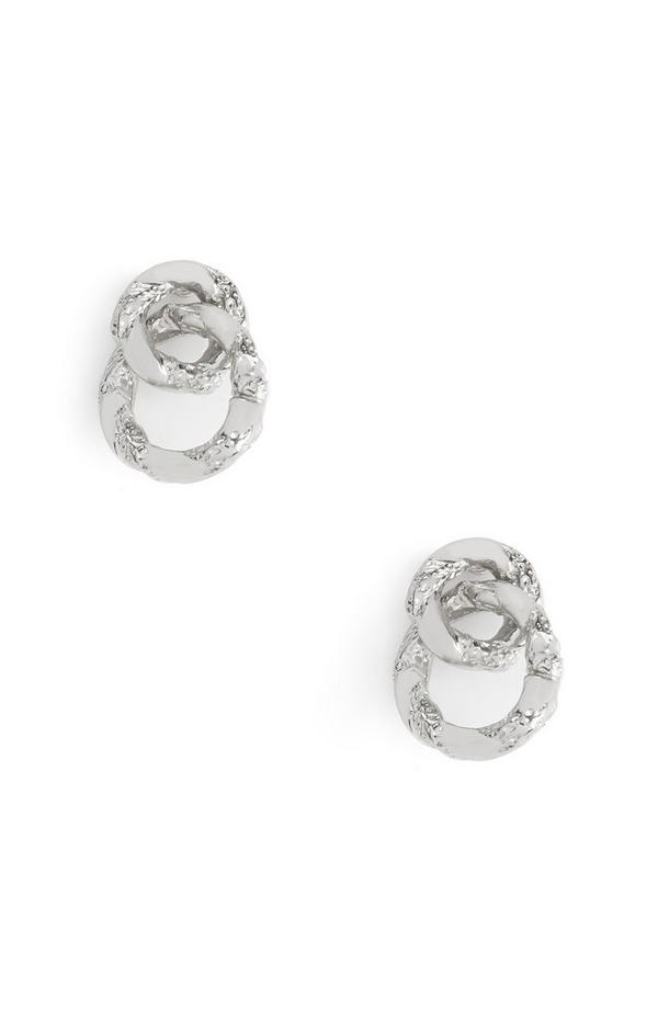 Looped White Circle Stud Earrings