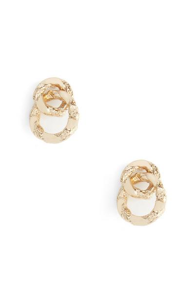Looped Yellow Circle Stud Earrings