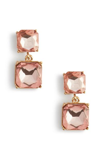 Pink Square Stone Drop Earrings