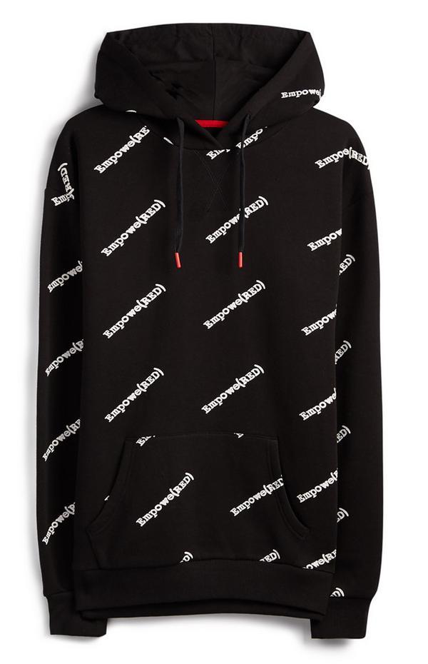 Felpa nera con cappuccio Empowered RED